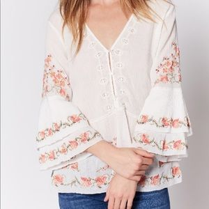 """Joie 3/4 Sleeve """"Kamile"""" Embroidered Blouse"""